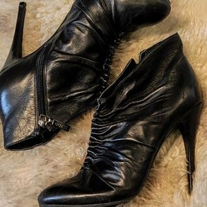 Guess ruched leather ankle boots